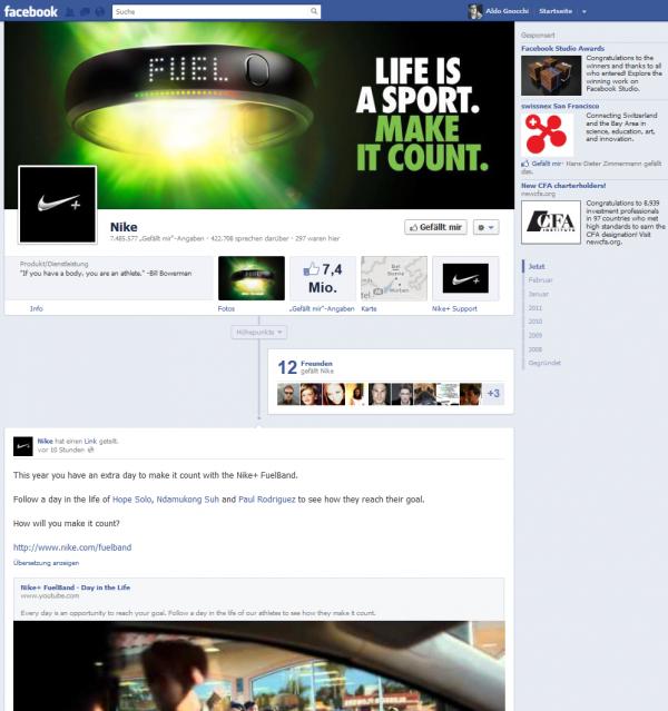 Nike Facebook-Seite