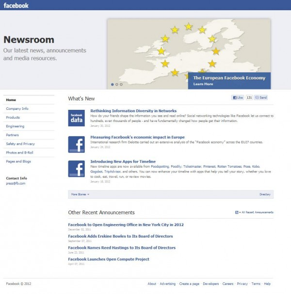 Facebook Press Room