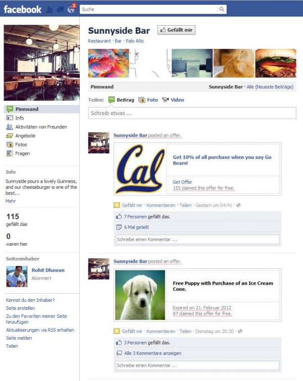 """Beispiele der Seiten Deals auf der Facebookseite von """"Sunnyside Bar"""""""