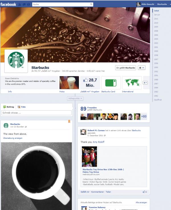 Starbucks Facebook-Seite