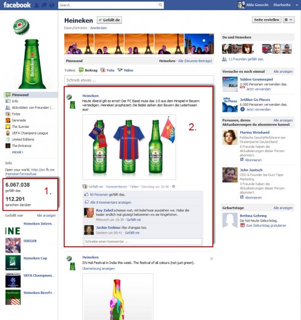 Heineken Facebook-Seite