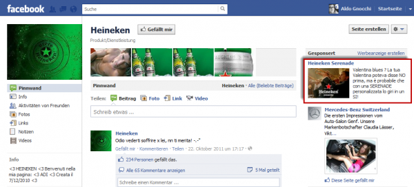 Heineken Serenade Facebook Ads
