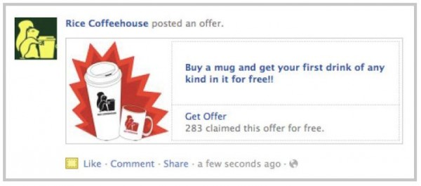 Facebook Offers - Ansicht am Desktop