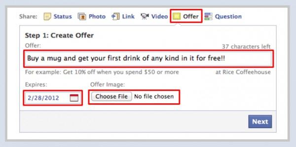 Facebook Offers - Schritt 1