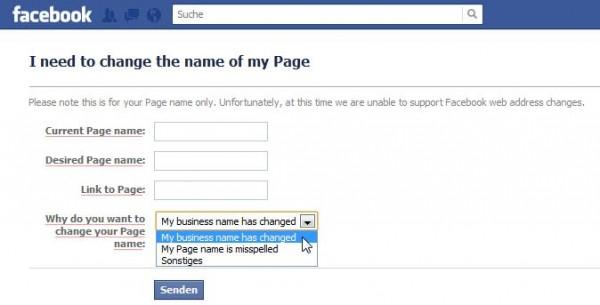 Formular für die Beantragung der Namensänderung einer Facebookseite