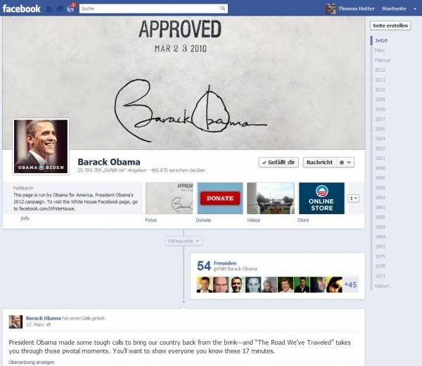 Facebook Seite mit Timeline von Barack Obama