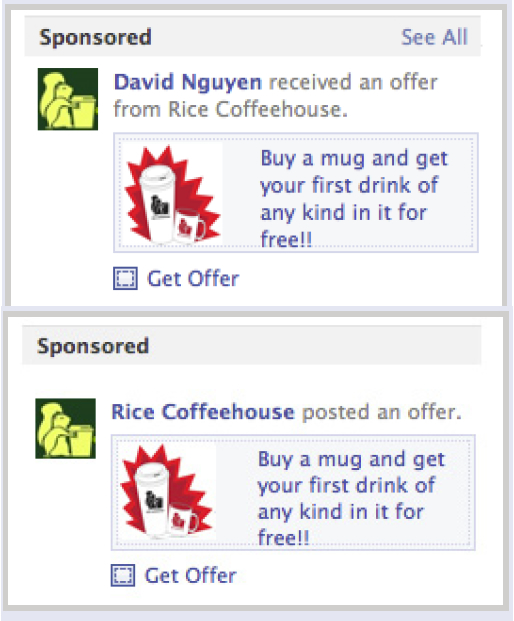 Facebook Offers: Sponsored Story Ads