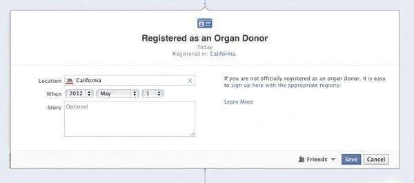 """Lebensereignis """"Organ Spender"""" bei Facebook"""