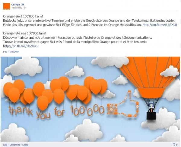 Orange 100'000er Timeline mit Verlosung