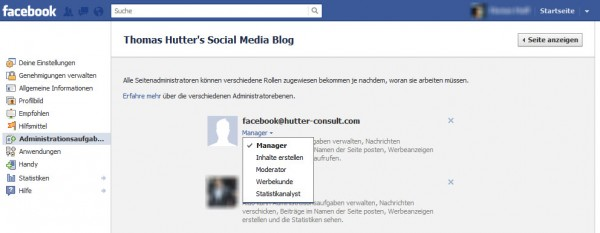 Facebook Administrations Rollen