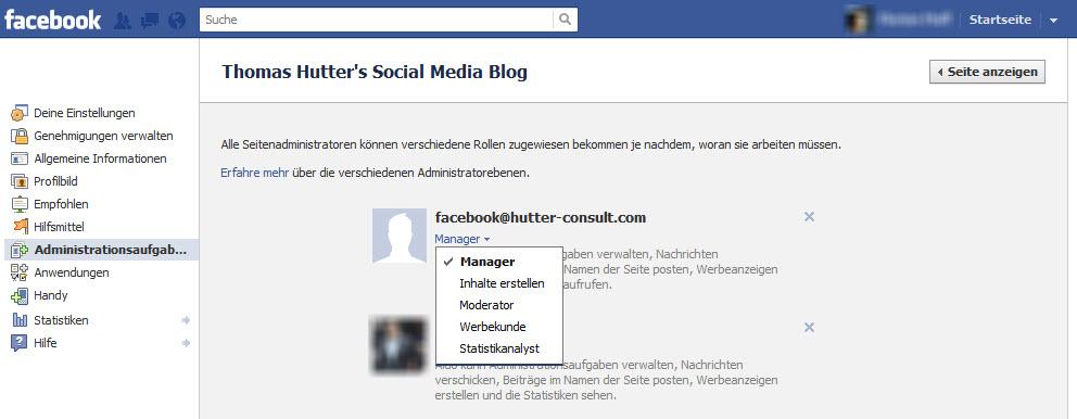 Facebook Administrations Rollen
