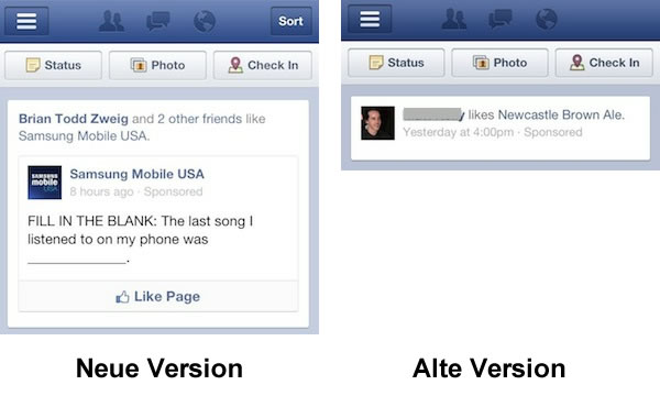 """Mobile """"Page Like"""" Sponsored Story Ads (Quelle: insidefacebook.com)"""