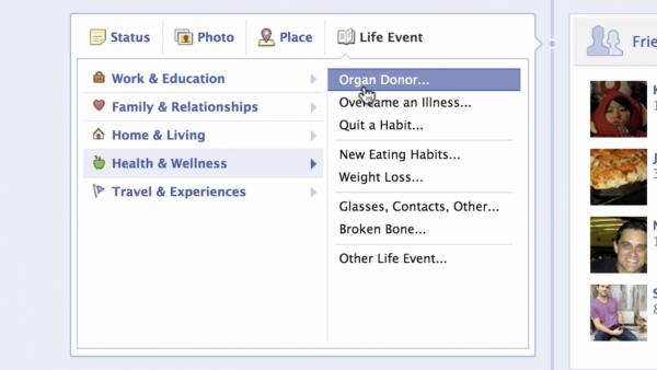 """Lebensereignis """"Organ gespendet"""" auf Facebook"""