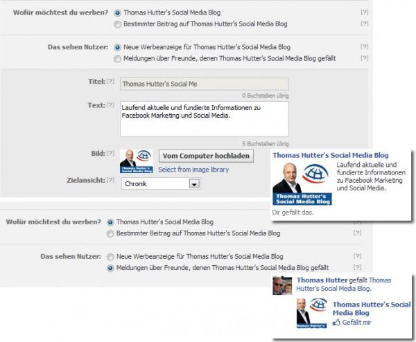 Vorschau für Standard Ad und Like Story Ad im Anzeigenmanager