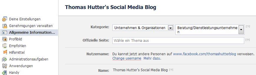 Allgemeine Informationen -> Change username