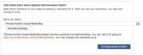 Vanity-URL der Facebook Seite ändern