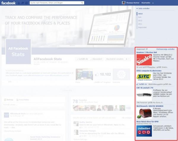 Facebook Werbeanzeigen - Platzierung in der rechten Spalte