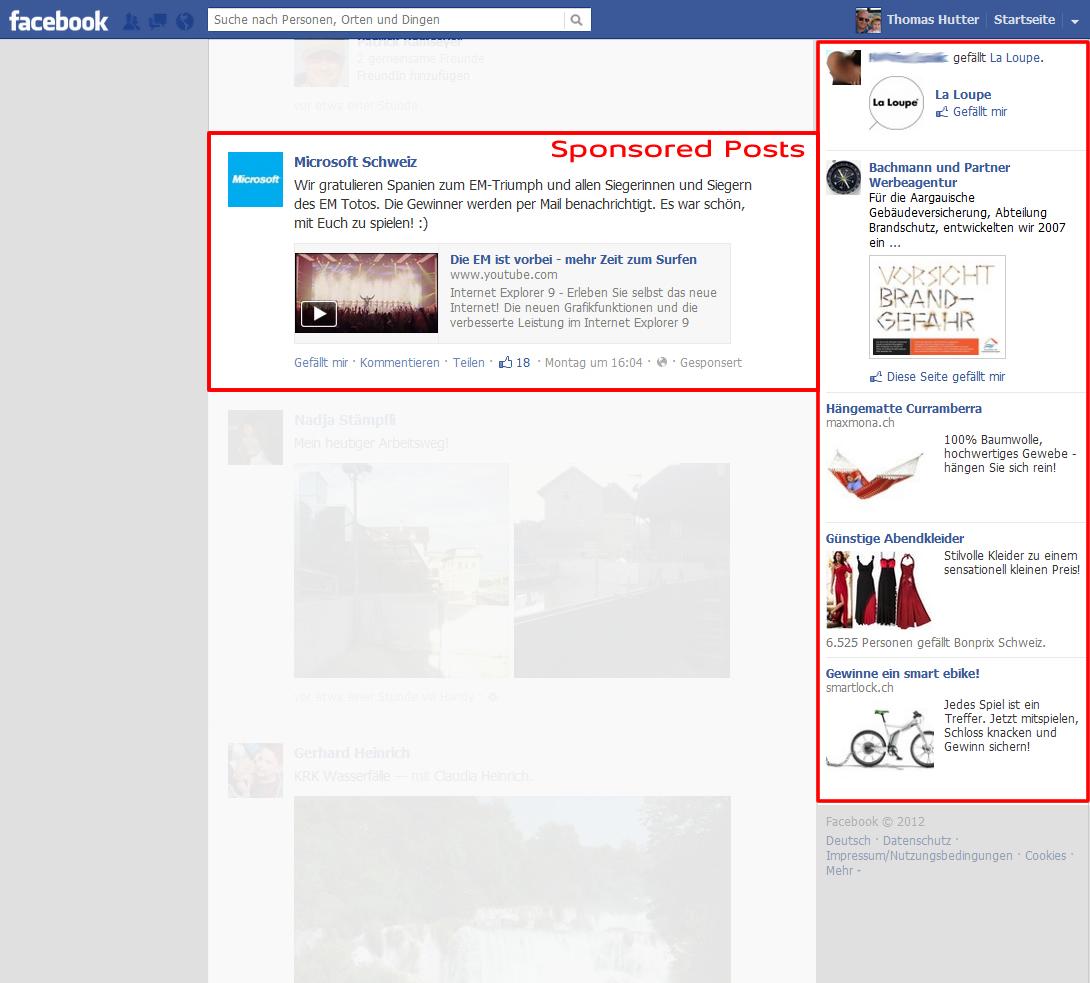 Facebook Werbeanzeigen - Platzierung in der rechten Spalte - Promoted Posts in der Mitte