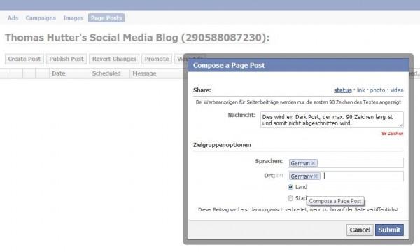 """Facebook """"Dark Posts"""" im Power Editor"""
