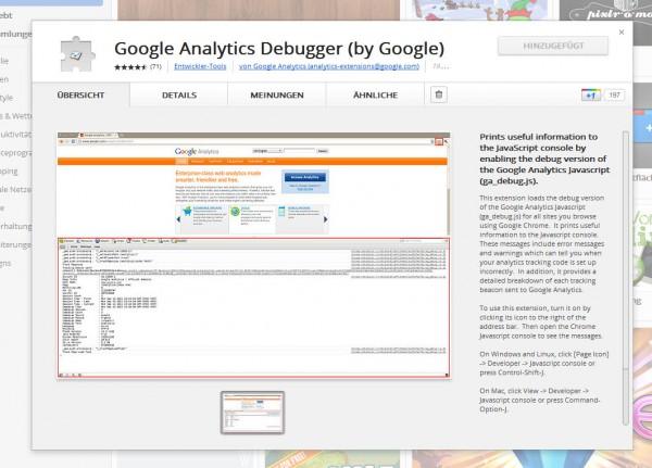 Google Analytics Debugger Erweiterung von Google