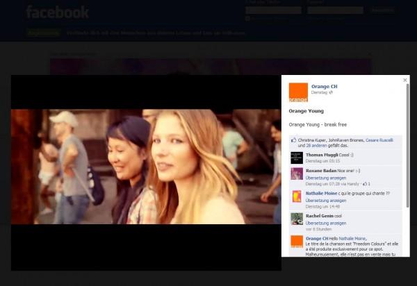 Logout Experience Werbeformat von Orange in der Schweiz