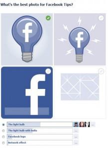 Beispiel der neuen Facebook Fragen mit integrierten Bildern
