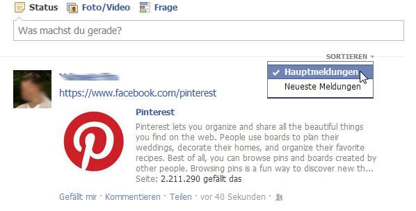 Filter im Newsfeed von Facebook
