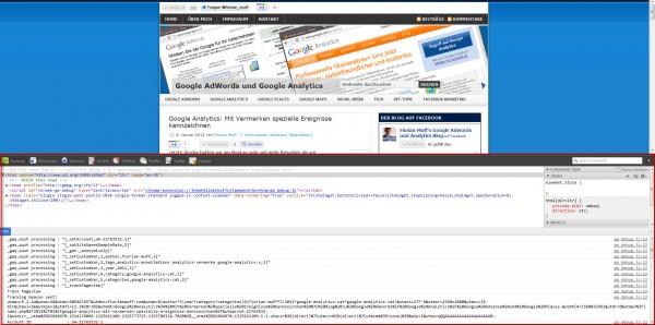 Ansicht Chrome JavaScript Konsole