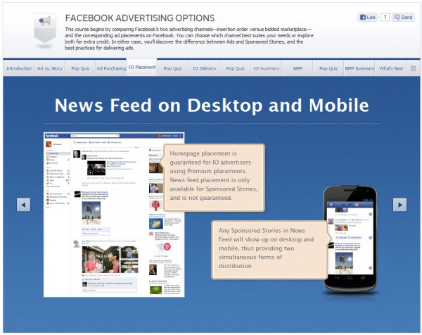 Facebook Advertising Options - IO Placement