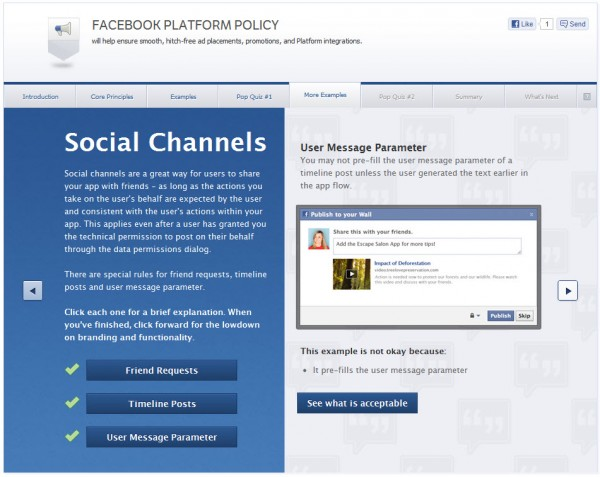 Facebook Platform Policy - More Examples