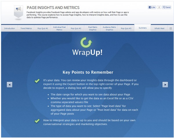 Page Insights and Metrics - Summary