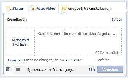 Facebook Angebote erstellen - AGB, Beschränkungen, Gültigkeit und EAN-Code