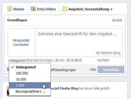 Facebook Angebote erstellen - Mengenbegränzung