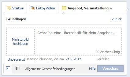 """Facebook Angebote erstellen - Schritt 3 """"Nur im Geschäft"""""""