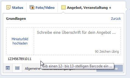 Facebook Angebote erstellen - Strichcode (EAN-Code) Eingabe