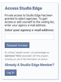 Anmeldeformular für Facebook Studio Edge