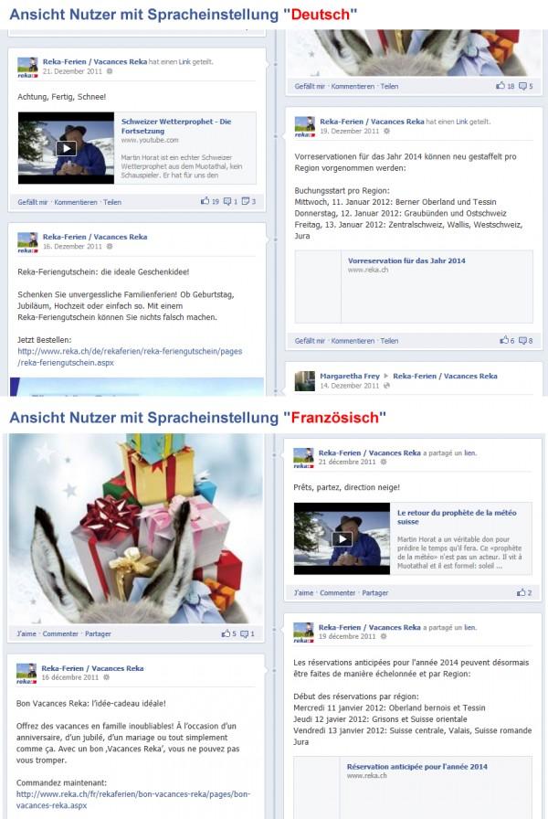 Beispiel der Sprachtrennung von Beiträgen Deutsch und Französisch