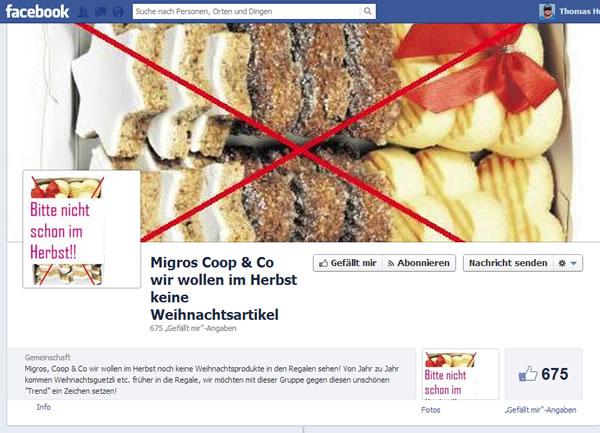 """Facebook Seite """"Migros Coop & Co wir wollen im Herbst keine Weihnachtsartikel"""""""
