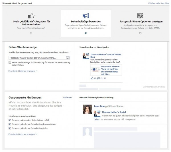 """Facebook Ads erstellen - Schritt 2 - Zielauswahl (Ansicht """"Seitenbeiträge bewerben"""")"""
