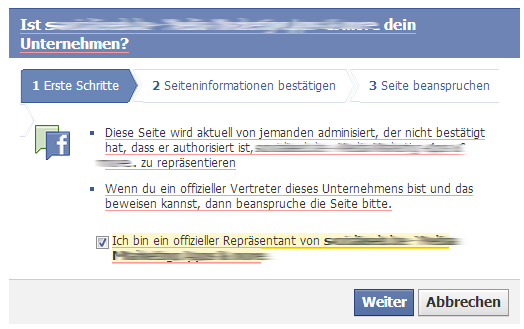 """Bestätigung """"offizieller Vertreter"""" im Claiming-Prozess für Facebook Orte"""
