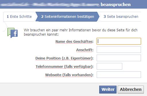 """""""Adressdaten zum Unternehmen"""" im Claiming-Prozess für Facebook Orte"""