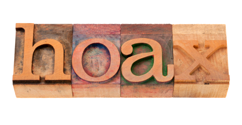 hoax - word in letterpress type (copyright istockphoto.com)