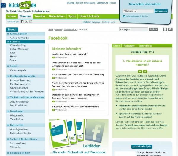klicksafe.de - Facebook Ratgeber