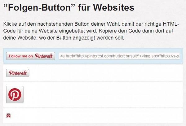 """Der Pinterest """"Folgen-Button"""" für Webseiten"""