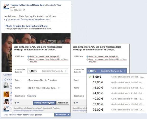 """Funktion """"Promoted Posts"""" auf Facebook Seiten"""