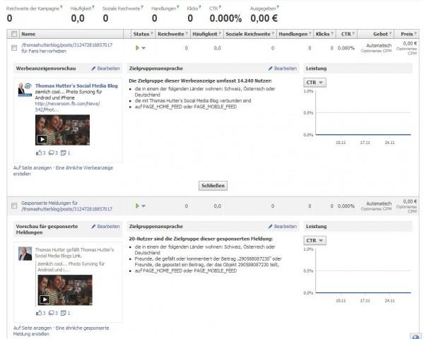 """Via """"Promoted Posts"""" automatisiert erstellte Anzeigenvarianten"""