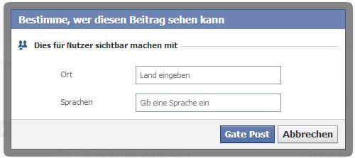 Sprachauswahl bei Beiträgen auf Facebook Seiten