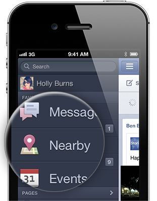 Facebook Nearby-Funktion auf dem Mobile