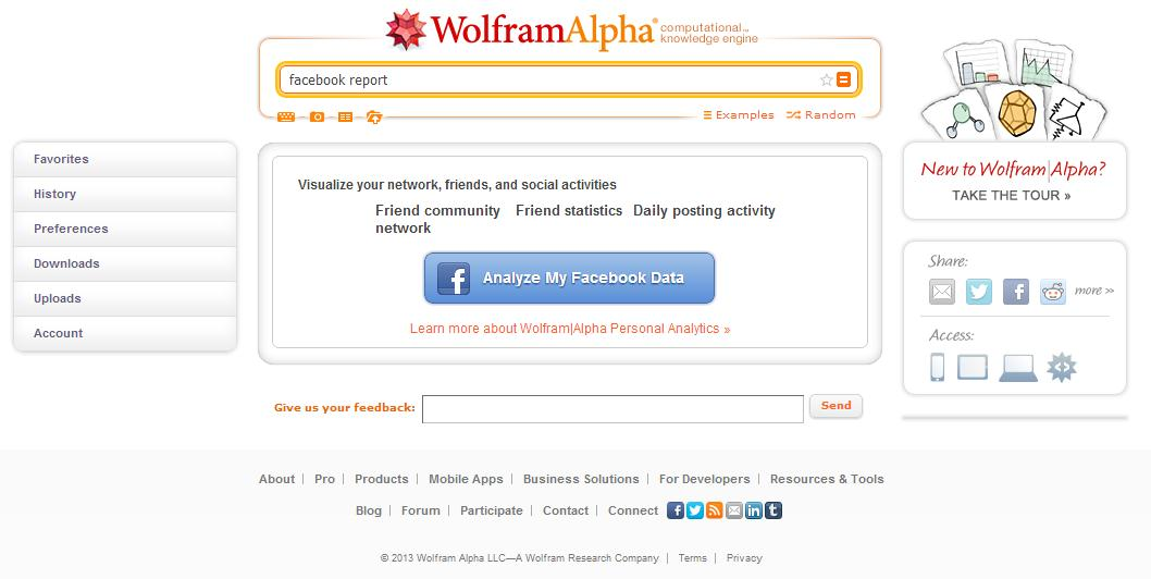 wolframalpha.com - Facebook Analyse Applikation