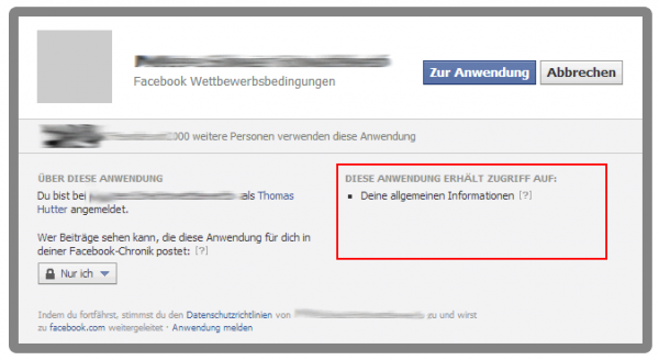 Login Dialog bei Facebook Applikationen